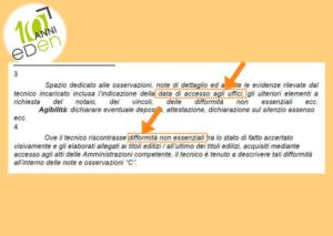 note difformità lievi nella relazione tecnica integrata