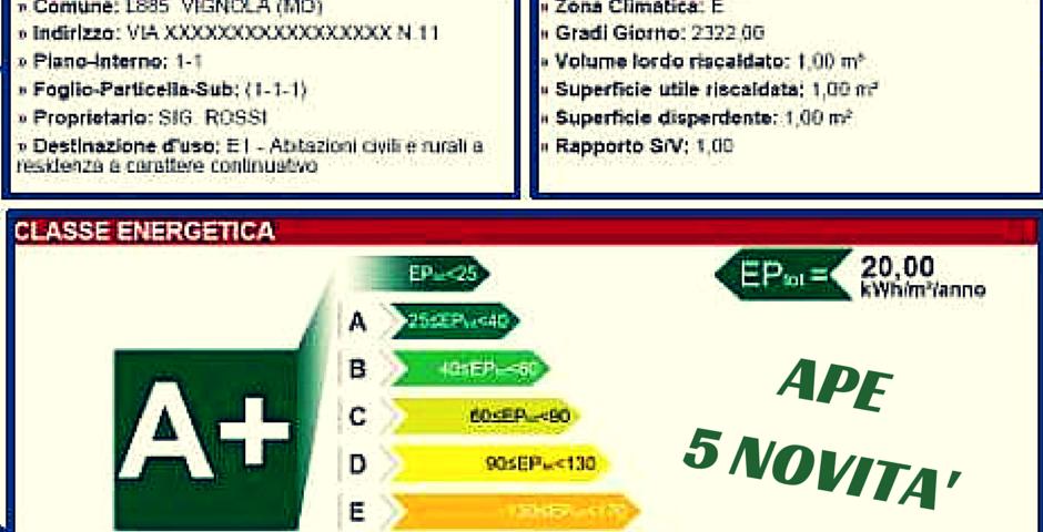 certificati APE 5 novità 2015